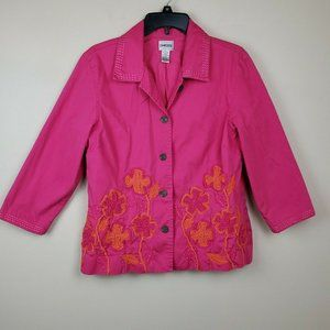 CHICO'S Pink Embroidered Button Front 3/4 Sleeve